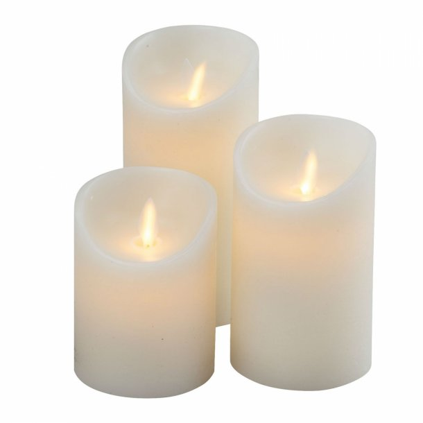 3 stk LED lys med blafrende flamme Creme Hvid