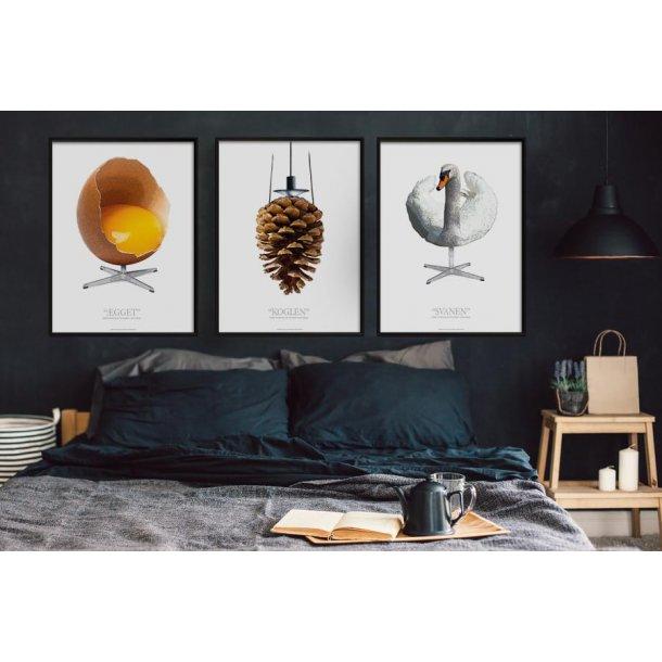 Plakater med grafisk fortolkning af Ægget Koglen og Svanen - sæt med 3 stk