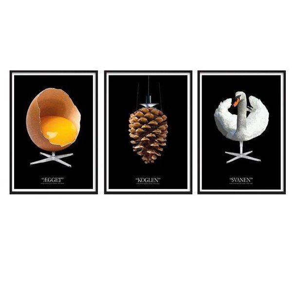 Plakater med grafisk fortolkning af Ægget Koglen og Svanen - sæt med 3 stk - sort