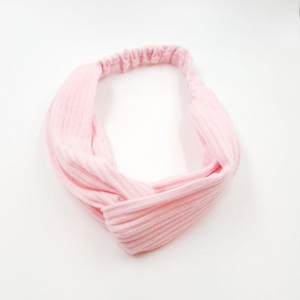 Turban twist hårbånd rib lyserød