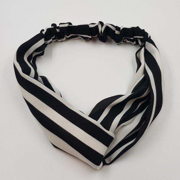 Hårbånd sort hvid striber