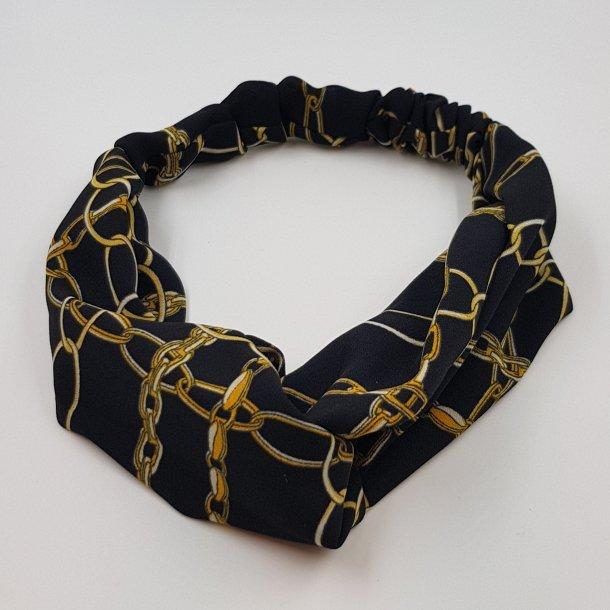 Hårbånd sort med print af kæder