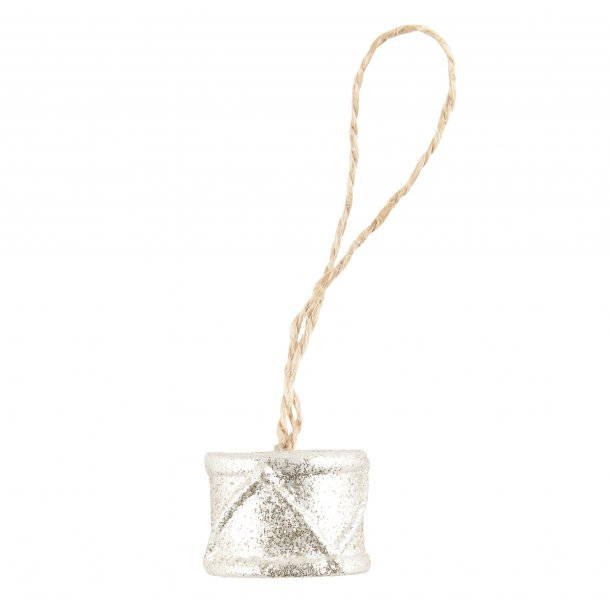 Juletræspynt tromme med glimmer | Ib Laursen