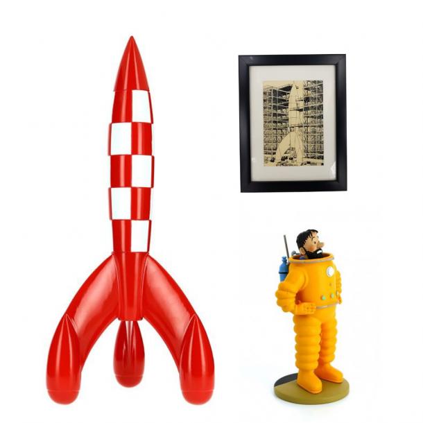Cosmo sæt med 30cm raket og billede inkl. gratis Haddock figur   Moulinsart