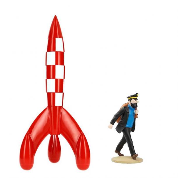 Tintin 30cm raket inkl. gratis Haddock figur med rygsæk | Moulinsart