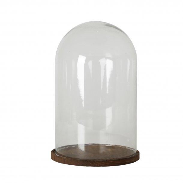 Glasklokke med træbund large H37cm   Speedtsberg