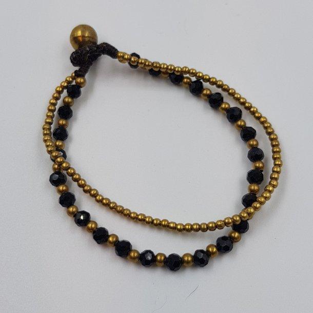 Dobbelt armbånd med sorte sten