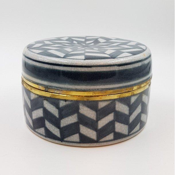 Keramik lågkrukke Checkered gråsort   Thomsons