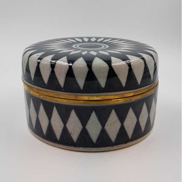 Keramik lågkrukke Harlequin gråsort   Thomsons