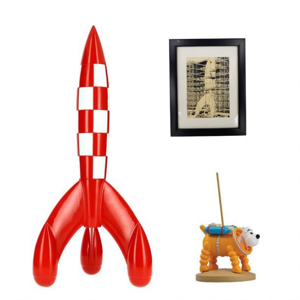 Cosmo sæt med 30cm raket og billede inkl. gratis Terry i rumdragt figur | Moulinsart
