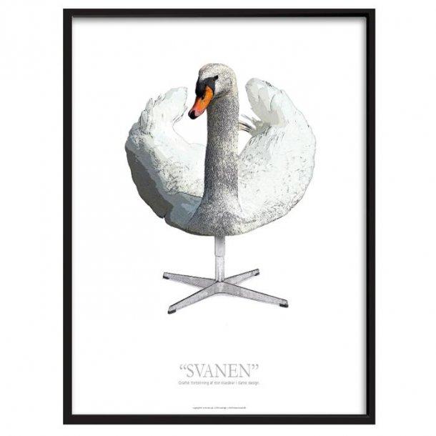 Grafisk fortolkning af Svanen - Plakat med ramme